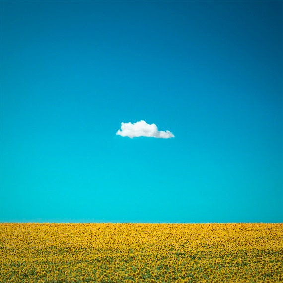 "Nature Photography ""The Happy One"" Lone Cloud, One Cloud, Blue Sky, Yellow Sunflower Field, Summer Home Wall Decor 6x6 Fine Art Photo Print - ndtphoto"