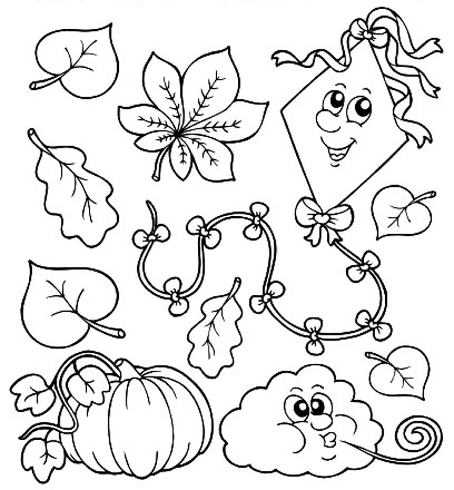 78 EASY FALL LEAVES COLORING PAGES FOR KINDERGARTEN ...