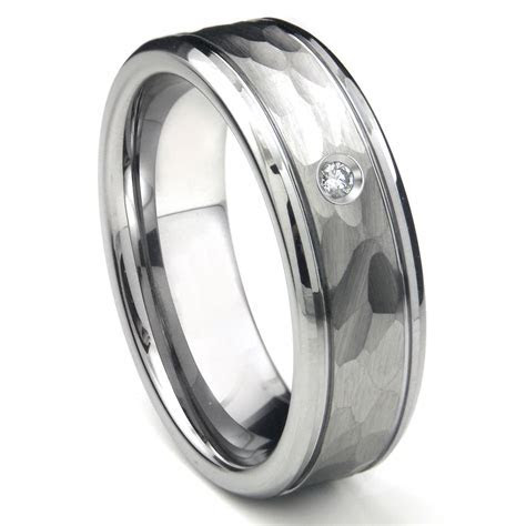 Tungsten Carbide Diamond Hammer Finish Newport Men's