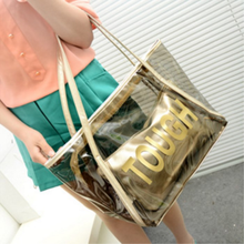 Transparent tote Bag pvc polyester fabric letters print bags for women
