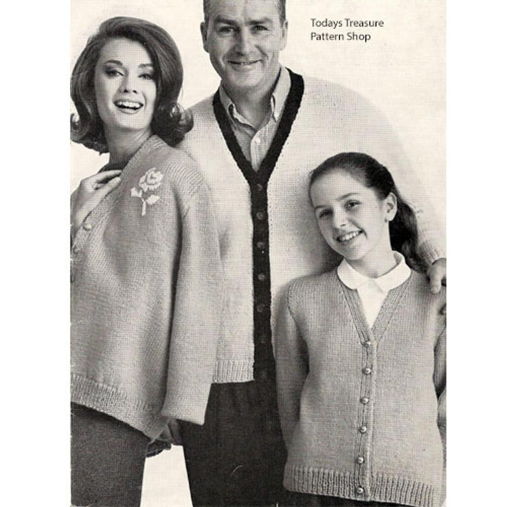 Easy Cardigans Knitting Pattern Men Misses Children