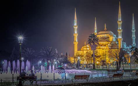 blue mosque istanbul turkey night photography ultra hd