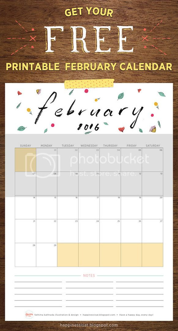 Happiness is... February 2016 Free Printable Calendar