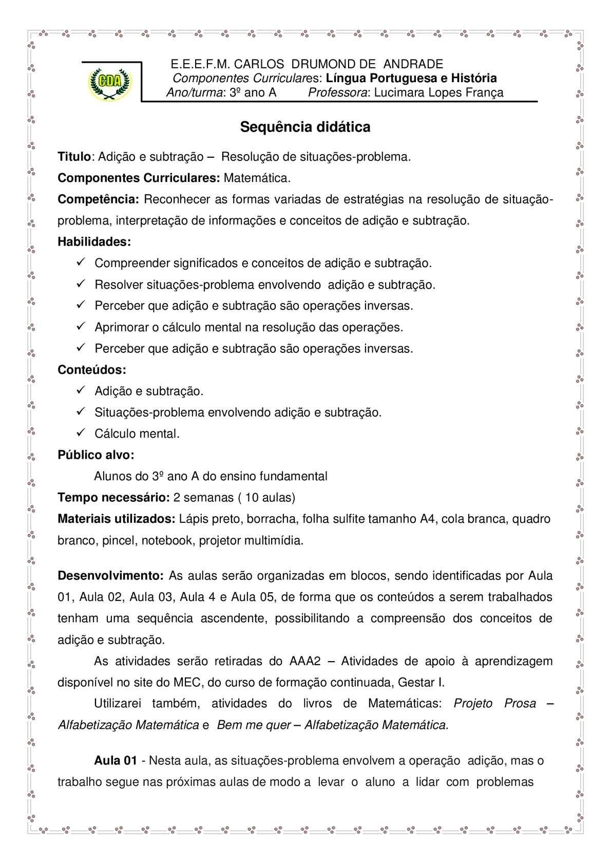 Adicao E Subtracao Resolucao De Situacoes Problema Calameo Downloader