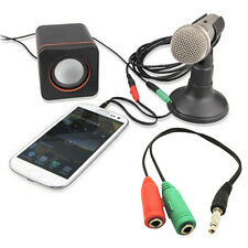 stereo audio 3.5mm male to dual Female Earphone + Mic Splitter Cable For Laptop