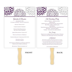 wedding program fan floral petals purple plum light gray