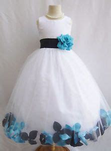 Flower Girl Dress IVORY/Teal PETAL Wedding Children Easter