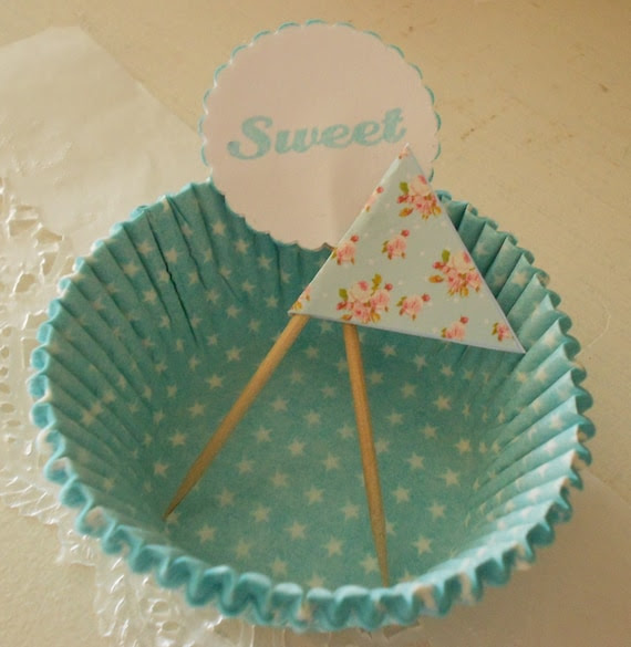 Aqua Cupcake kit star polka dot baking cups liners with sweet and shabby roses picks toppers ECS