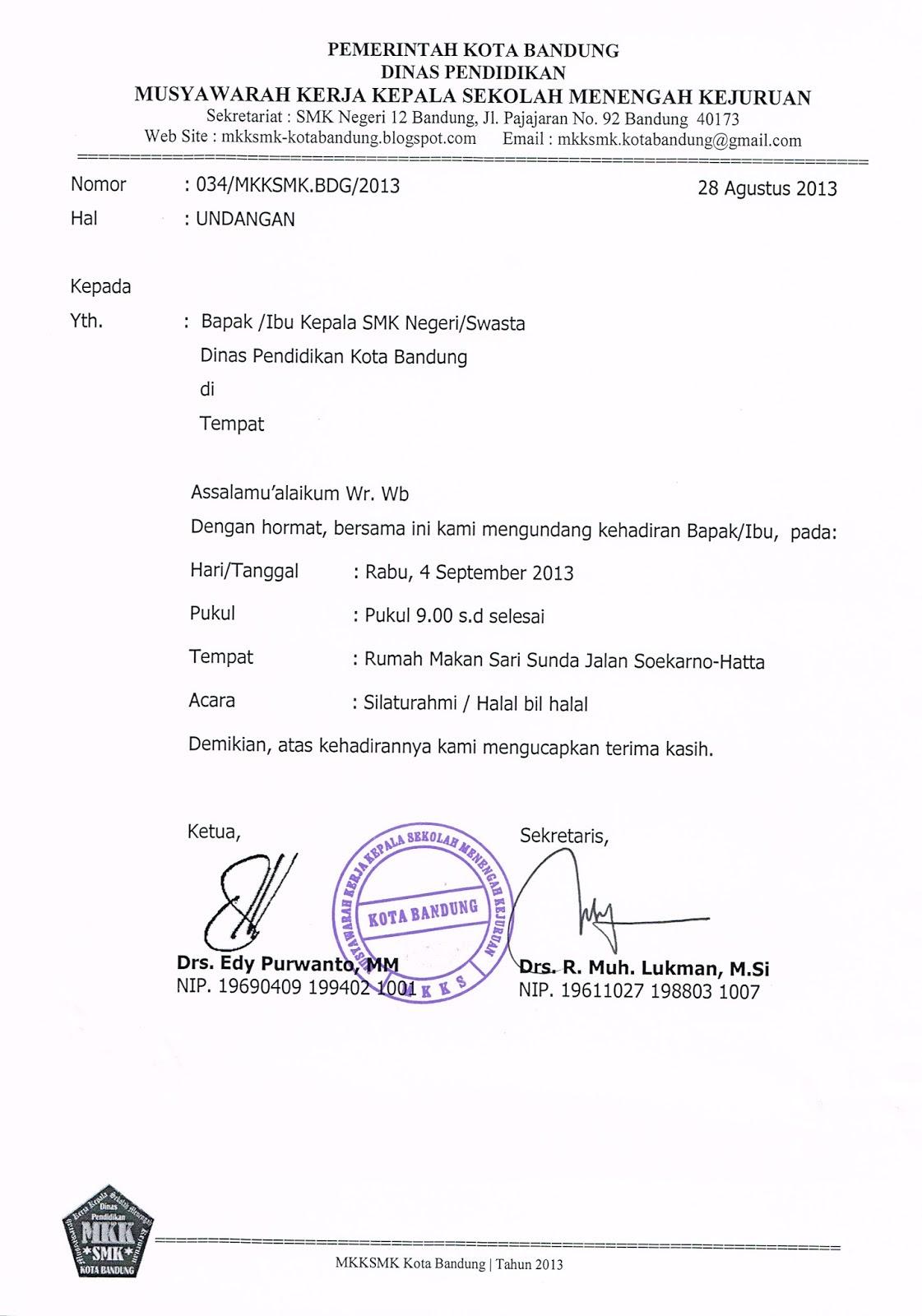 Contoh Undangan Untuk Kepala Dinas - Contoh Isi Undangan
