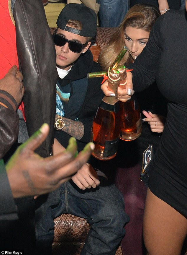 By his side: Justin was accompanied by his latest fling, 21-year-old model Chantel Jeffries