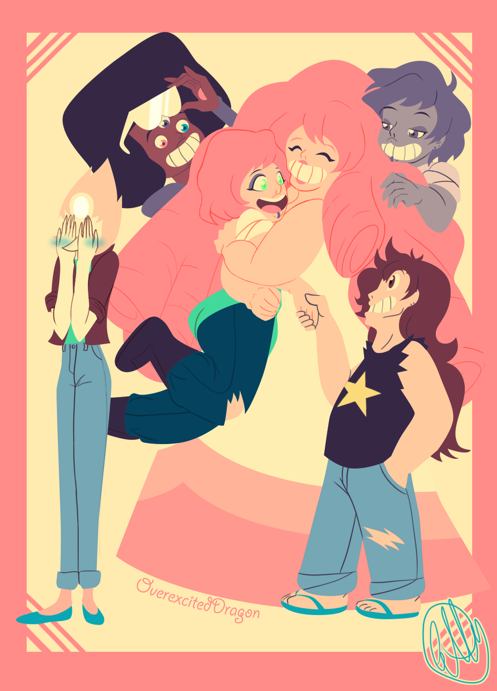 AU??? Idk Pearl introduces her new gf to the family. Rose is so happy and loves Mystery Girl's hair, Greg is secretly relieved and likes her piercings, Amethyst shapeshifts into the girl just to annoy...
