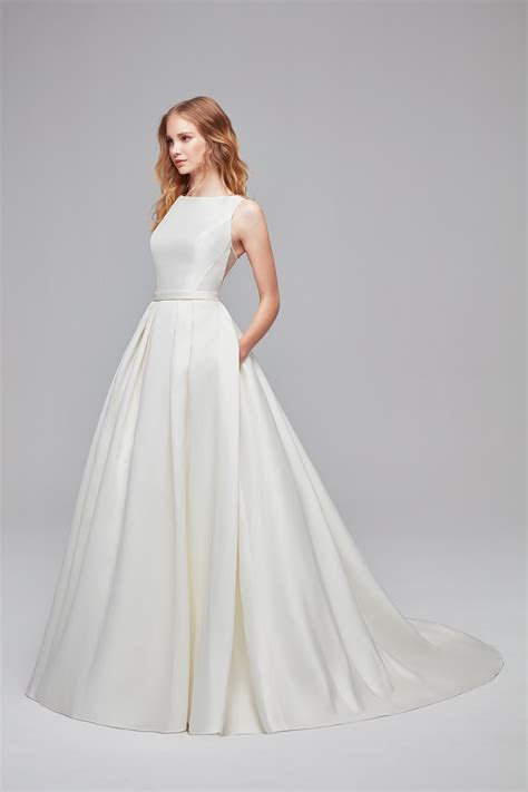 High Neck Mikado Ball Gown Wedding Dress WG3879