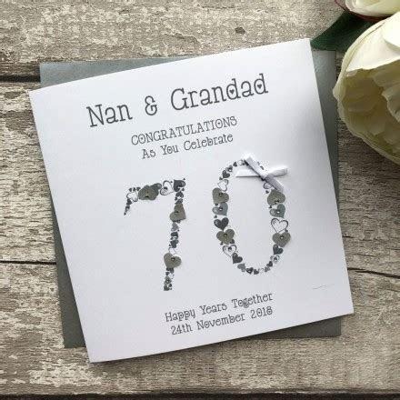 Handmade Wedding Anniversary Card 'Platinum 70th
