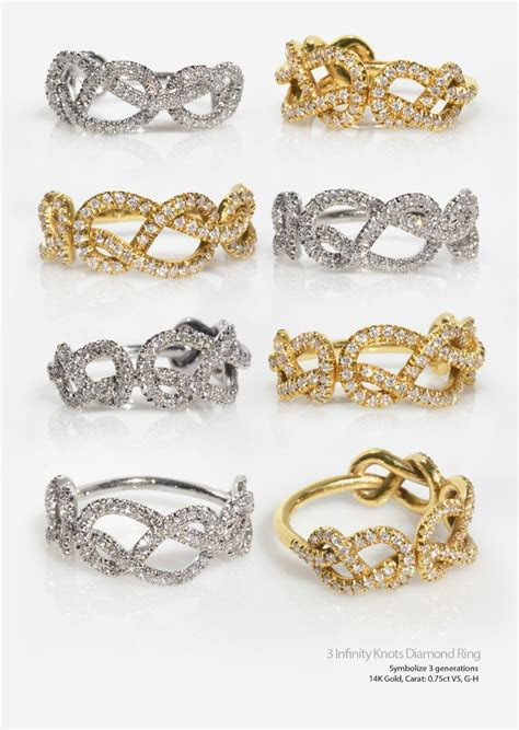 Infinity Love Knot Diamond Ring, Triple Infinity Knot Ring