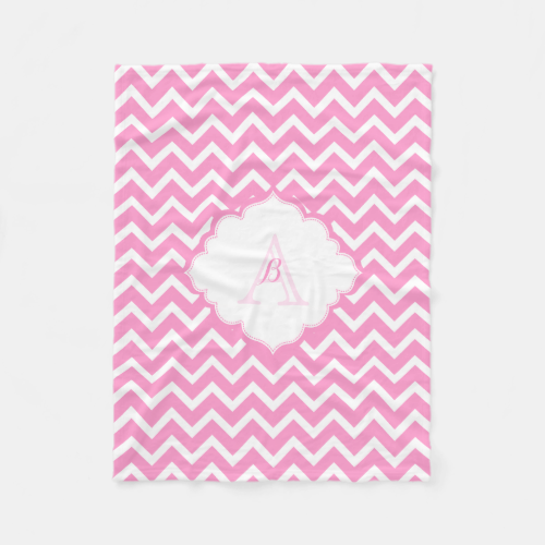 Monogramed Pink And White Zigzag Chevron Fleece Blanket