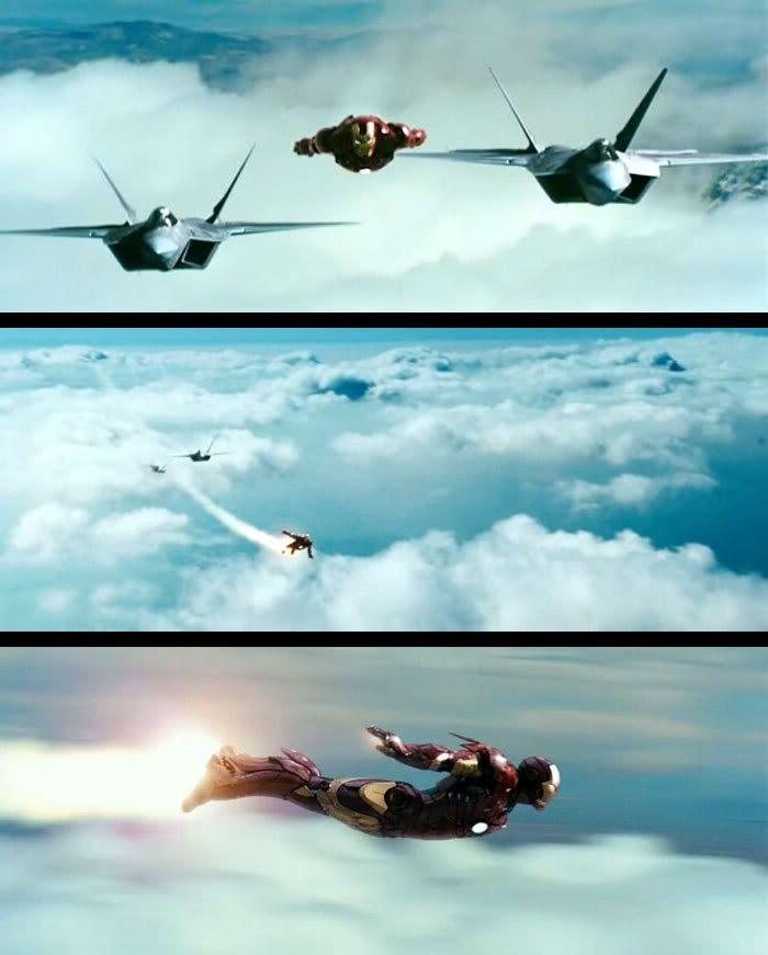 Iron Man outruns a pair of F-22 fighter jets.
