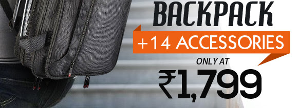 Branded Laptop Backpack + 14 Accessories Combo only at Rs.1799