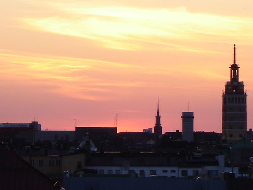 Pink and golden sky over Helsinki