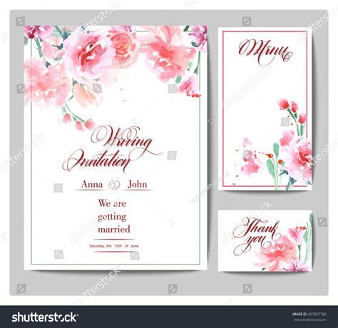 Wedding Invitation Cards Watercolor Blooming Rose Stock
