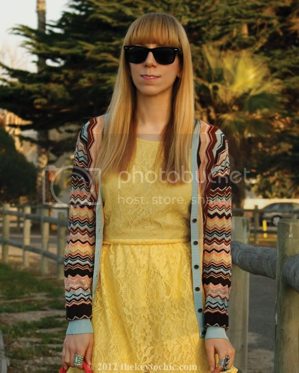 Missoni for Target cardigan, Forever 21 yellow lace skater dress, Los Angeles fashion blog, southern California fashion blog
