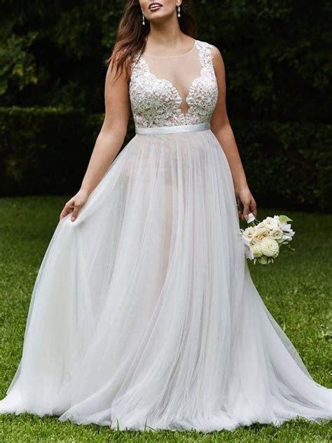 Gorgeous A line White Long Chiffon Plus Size Wedding Dress