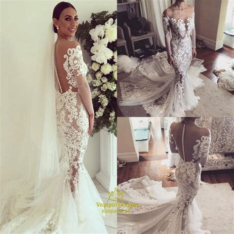 Illusion Sheer Neckline Long Sleeve Mermaid Wedding Dress