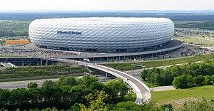 Panorama Aufnahme der Allianz Arena München am...