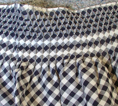 smocked half apron on bias
