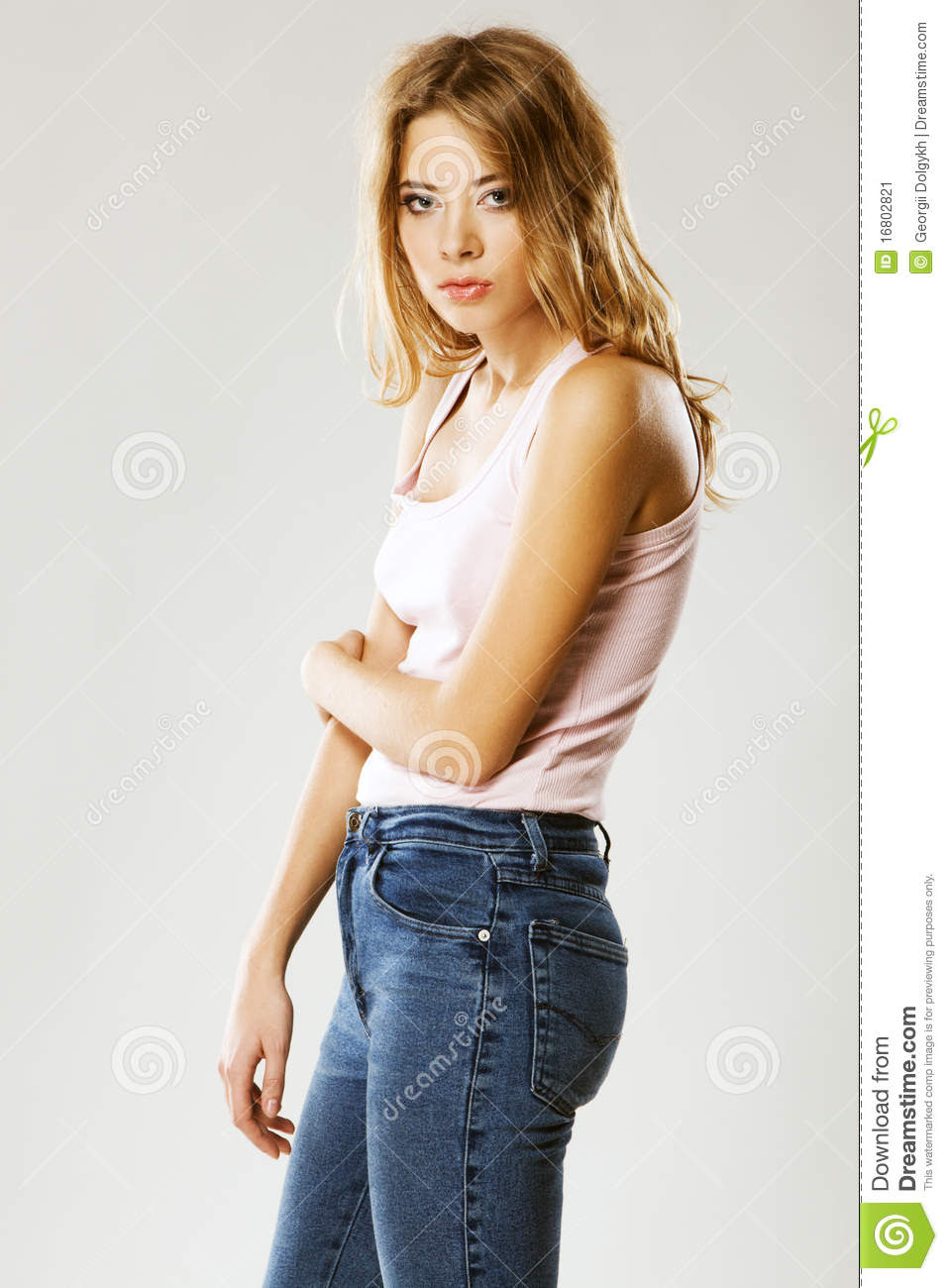beautiful fashion model in casual clothing stock image