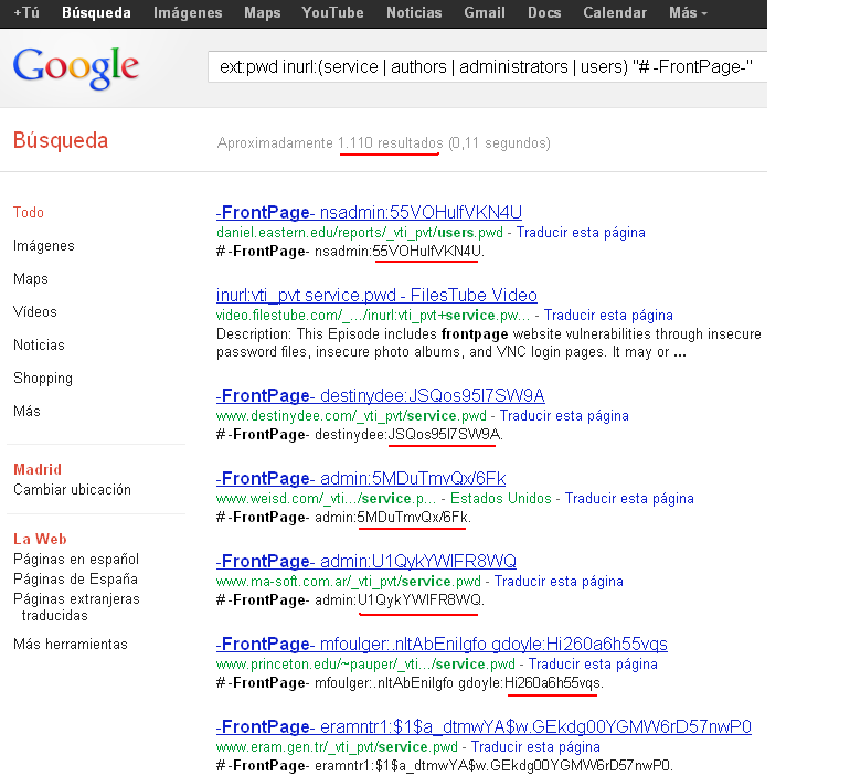 google hacking frontpage