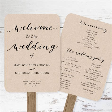 wedding program fan template printable rustic wedding fan