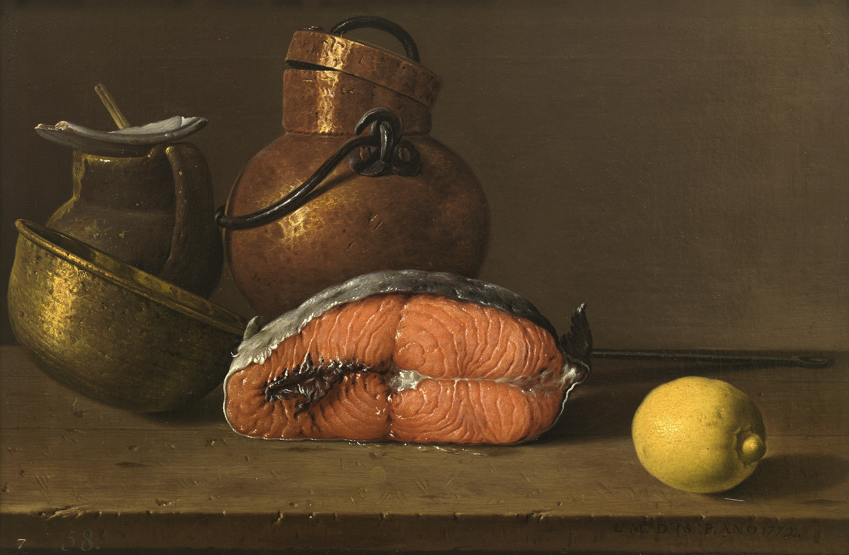 File:Luis Melendez, Still Life with Salmon,Lemon and three Vessels,1772 Museo del Prado Madrid.jpg