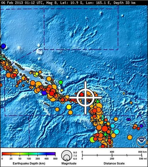 A bulletin released by the Pacific Tsunami Warning Center/NOAA/NWS issued on February 6, 2013 shows the area affected by the tsunami warning following a major earthquake off the Solomon Islands.