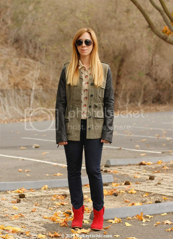 Equipment floral blouse, Rag & Bone skinny jeans, leather sleeve military jacket, Aldo Mandina boots, Los Angeles fashion blog