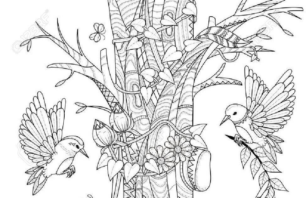 kleurplaten vogels en bloemen