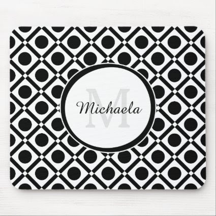 Modern Black and White Geometric Monogram and Name Mouse Pad