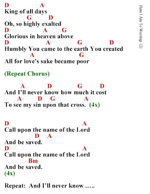 Here I Am To Worship Lyrics And Chords Key Of G