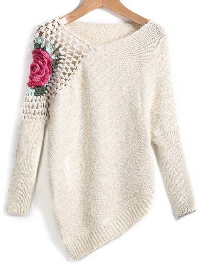 Apricot Round Neck Floral Crochet Loose Sweater pictures