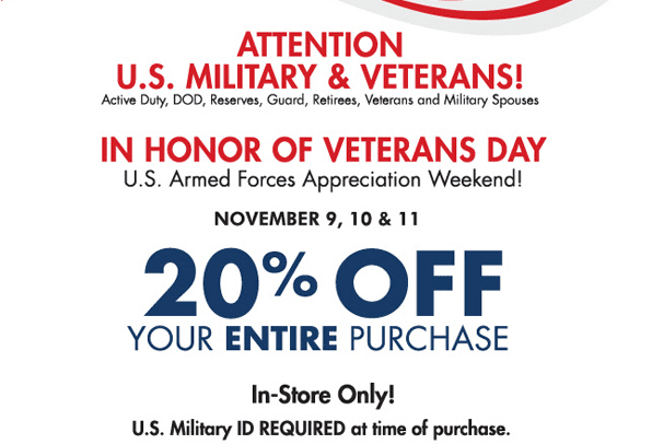 Many veterans and military spouses have indicated that it's not the amount of the discount that matters as much as the fact that there IS a discount offered, an acknowledgment of the quiet sacrifices our military members and their families make on a daily basis.. So, if you ARE part of a military family, please accept our gratitude, and enjoy the discounts offered by the businesses listed here.