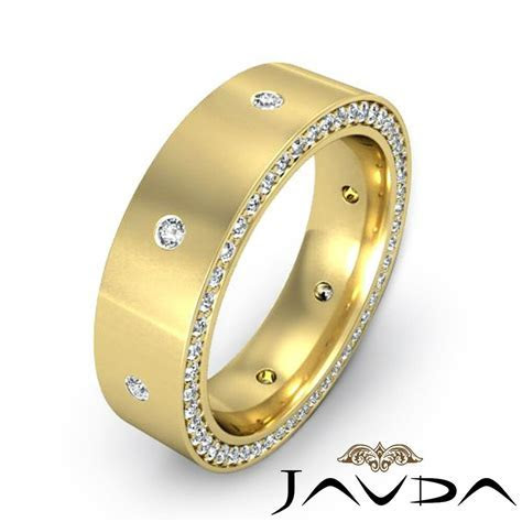 Round Diamond Men Eternity Wedding Band 14k Yellow Gold