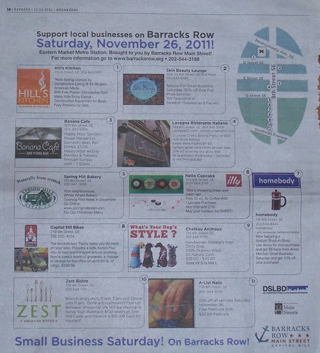 Commercial district newspaper ad promotion, Barracks Row, 8th Street SE, Washington, DC, Express Newspaper, 11/2011