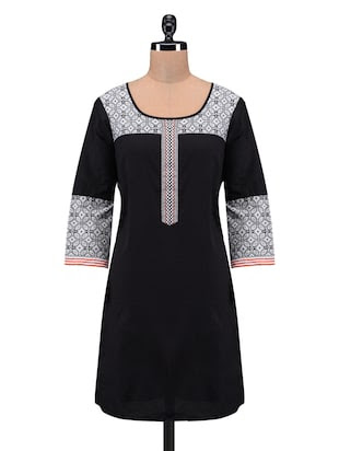 Black printed cotton kurta