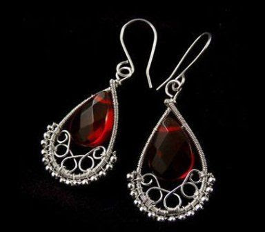 wire earrings with red stone