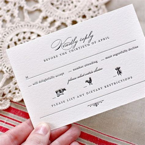 Beautiful RSVP card with mela choice, dietary restrictions