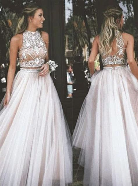 A Line High Neck Champagne Backless Tulle Two Piece Prom