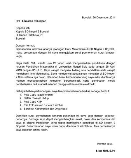 Contoh Surat Lamaran Kerja Dan Cv Tulis Tangan - Berbagi Contoh Surat