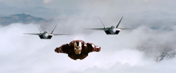 IRON MAN is confronted by two F-22 Raptor fighter jets in the summer blockbuster film...which opened in theaters nationwide on May 2, 2008.
