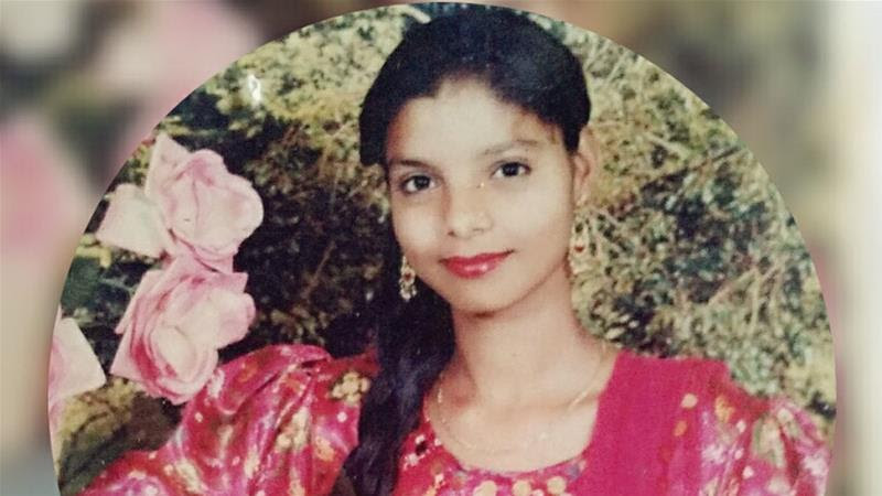 Parveen Khan as a child. She was savagely bitten by her husband after she gave birth to a second daughter [Al Jazeera]