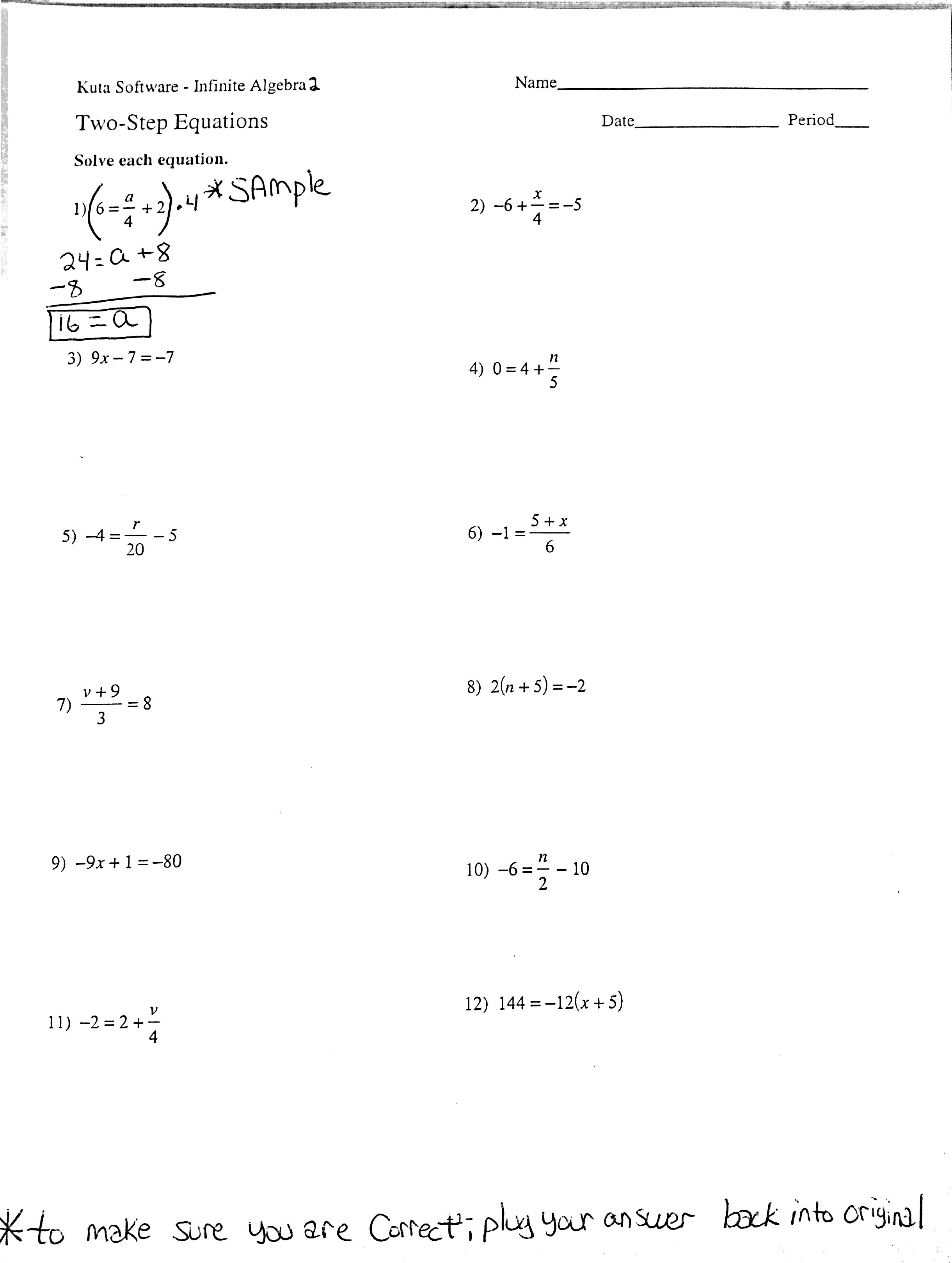 Multi Step Equations Worksheets 7th Grade  solving two step equations worksheet teaching and