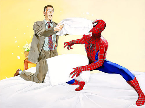 spiderman brandon bird painting pillow fight
